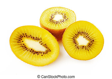 Gold kiwi fruit on white background