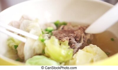 Chinese food, wonton dumpling - eating Chinese food, wonton...