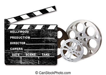 Empty Hollywood Film Canisters and Clapper on White -...