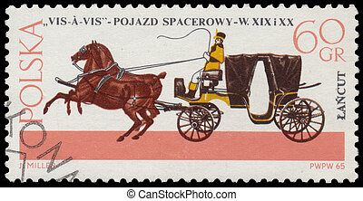 Stamp printed in Poland shows old chariot - POLAND - CIRCA...
