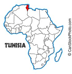 Tunisia outline inset into a map of Africa over a white...