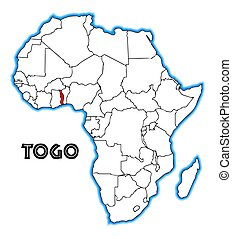 Togo outline inset into a map of Africa over a white...