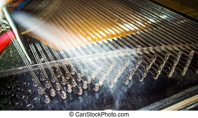 Process of Old Piano Strings Dismantling