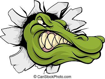 Crocodile or alligator head breaking through wall - A...