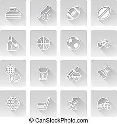 Sports icons set with icons for many sports including...