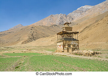 Buddhist shrine - Old shrine in Dolpo region in Nepal