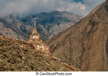 Buddhist shrine - Old shrine in scenic Himalayas mountains...