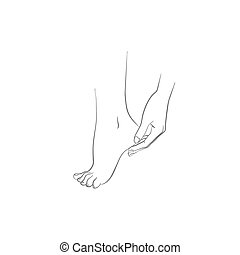 Hand and foot, body care, woman hand applying cream on feet,...