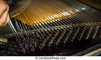Disassembly Process of Old Piano Strings. Time lapse -...