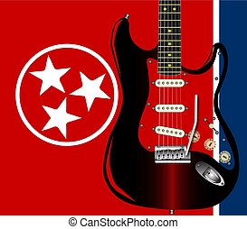 Tennessee Guitar - The Tennessee State flag with a rock...