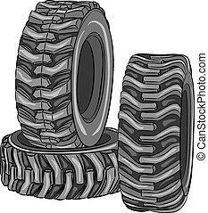 Vector car tires. - Car tires with a large tread isolated on...