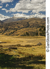 Cordillera Negra in Peru - Picturesque view of a sunlit...