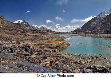 Lake in Tajikistan - Scenic lake in rocky valley in Pamir...