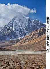 Arid valley in Tajikistan - Scenic peak in Pamir mountains...
