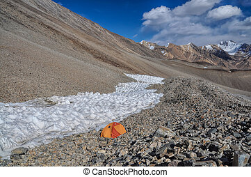 Camping in Pamir - Camping in scenic Pamir mountains in...