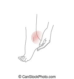 Woman feet, Hand and foot, feet pain, vector illustration