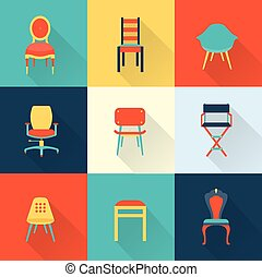 Chairs - Vector flat icon set of chairs furniture
