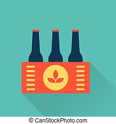 Six pack of Beer bottles in a box flat style