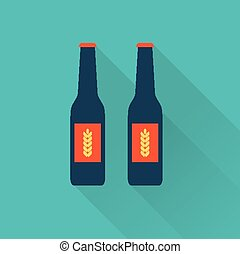 Beer bottles flat icons - beer bottle glass flat icon style...