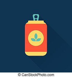 beer can flat style icon vector illustration design