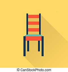 Chair - Vector flat icon of a chair flat style illustration