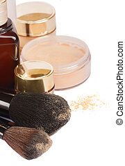 Basic make-up products. - Brushes with basic make-up...