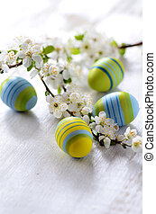 Easter eggs and branch with flowers on wooden background