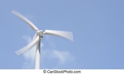 Turning to wind power generator model under blue sky