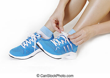 running shoes  - Athlete girl trying running shoes