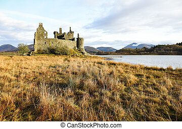 The ruin of Kilchurn Castle, Highland mountains and Loch Awe, Scotland