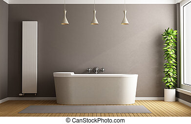 Minimalist bathroom with elegant bathtub, vertical heater...