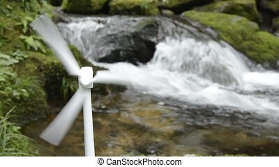 Wind power and brook - Turning to wind power generator model...