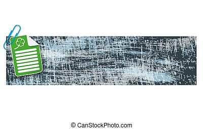 banner with scratches background and document and cloverleaf
