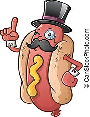 Hot Dog Gentleman Cartoon Character - A proper hot dog...