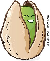 Pistachio Cartoon Character - A happy child-like pistachio...