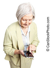Senior woman using mobile phone over white - Senior woman...