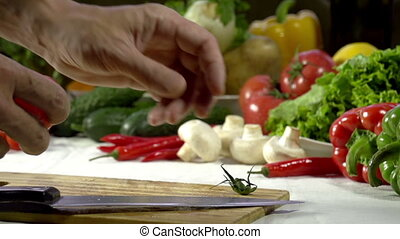 Knife Cutting Tomato - Hands Cook cut into Beijing Cabbage...