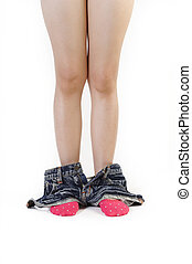 woman caught with pants down on white background