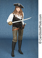 Sexyl woman - pirate armed with a sabre on blue background