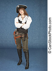 Sexy woman - pirate armed with a pistol on blue background