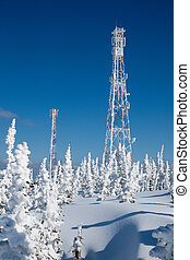 Communication antenn post with frost crystals