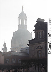 Silhouette of Church of Our Lade in Dresden, Germany