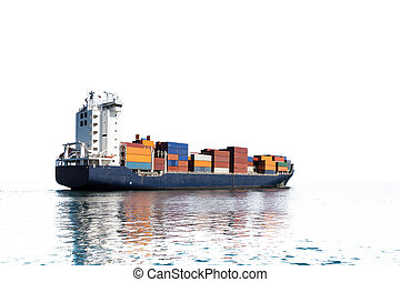 Container ship silhouette - Photo of a container ship...