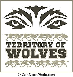 Retro Wolves emblem - dangerous territory. Mascot athletic...