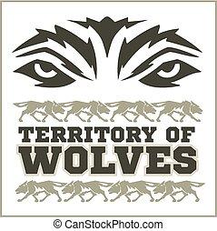 retro, lobos, emblema,