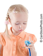 Little girl with sthetoscope - Shot of little girl with...