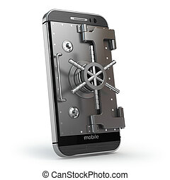 Mobile security concept. Smartphone or cellphone with vault...