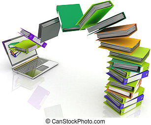 Colorful folders fly into your lap - Colorful folders fly...