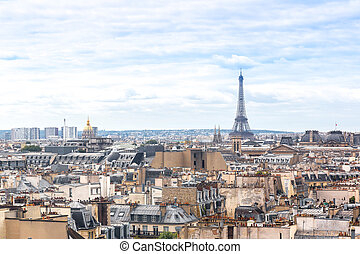 Eiffel Tower in Paris - Aerial view of the Eiffel Tower in...