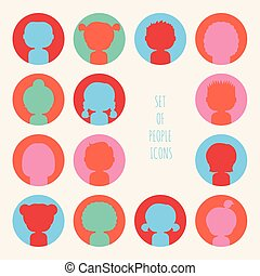 Set of colorful silhouette people icons Funny cartoon hand...